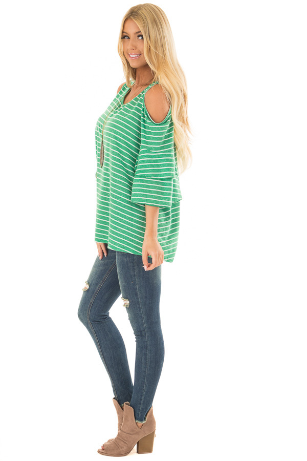 Kelly Green Striped Cold Shoulder Top side full body