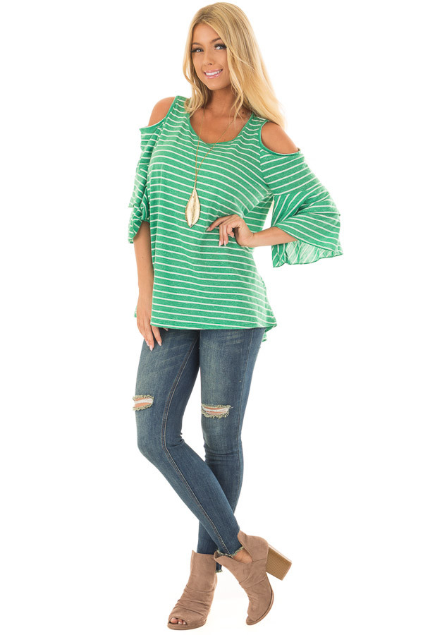 Kelly Green Striped Cold Shoulder Top front full body