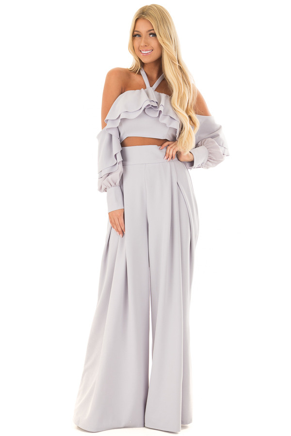 Moonmist Blue Two Piece Outfit with Ruffle Details front full body