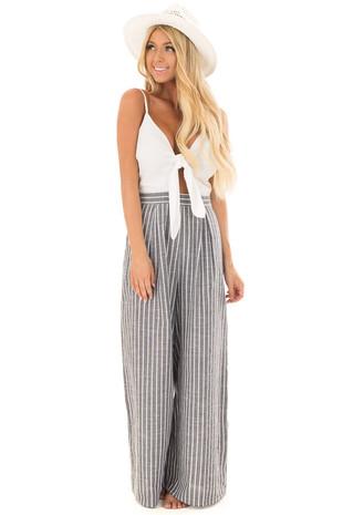 Charcoal Striped Jumpsuit with Front Tie and Side Pockets front full body