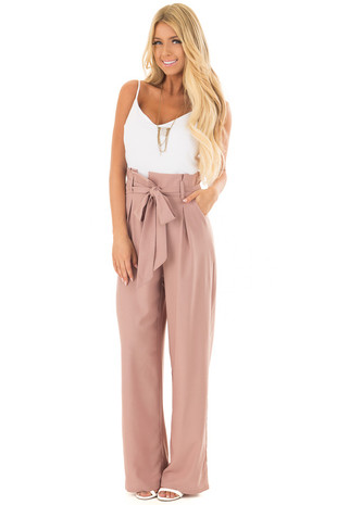 Dusty Mauve Jumpsuit with Waist Tie and Side Pockets front full body