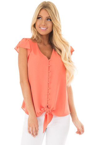 Peach Button Up Blouse with Front Tie front closeup
