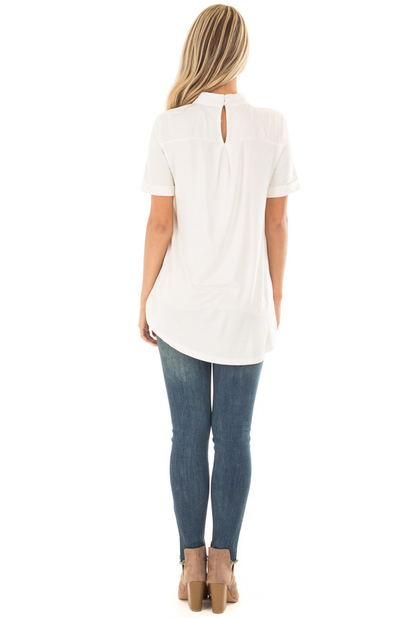 Ivory High Neck Top with Cage Neckline back full body
