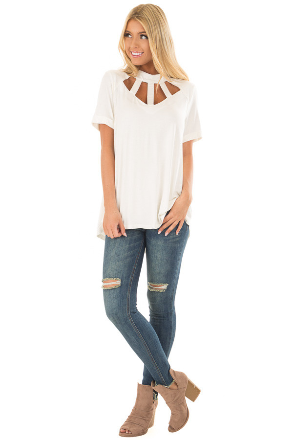 Ivory High Neck Top with Cage Neckline front full body