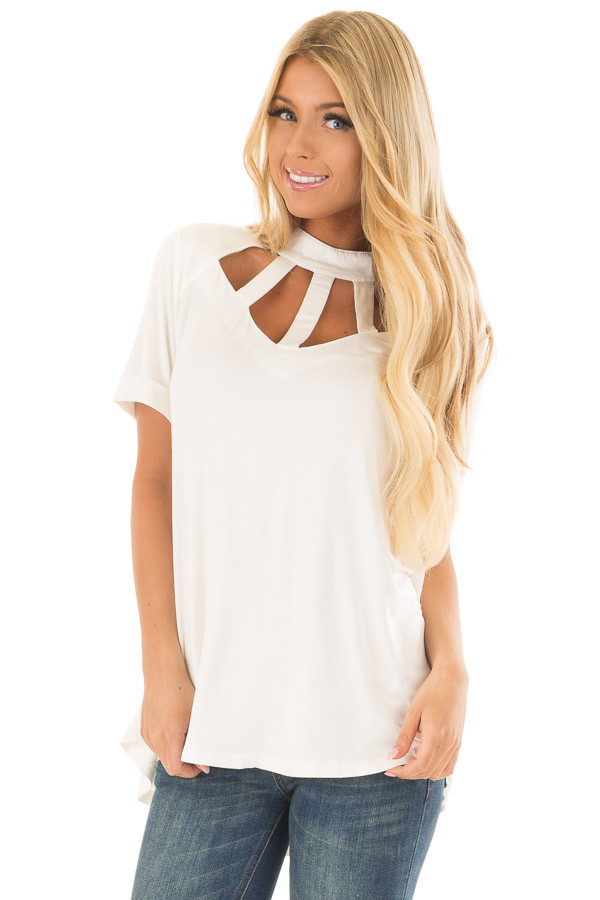 Ivory High Neck Top with Cage Neckline front close up