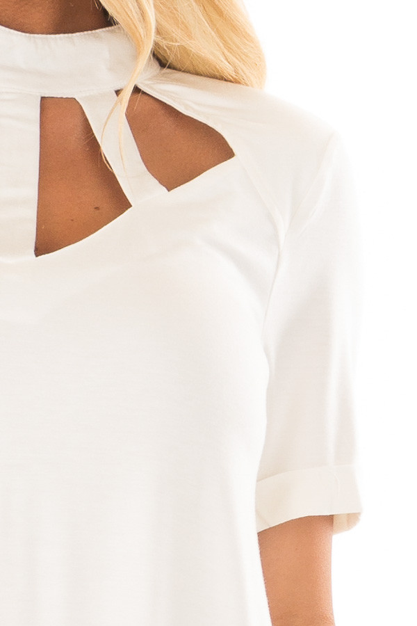 Ivory High Neck Top with Cage Neckline detail