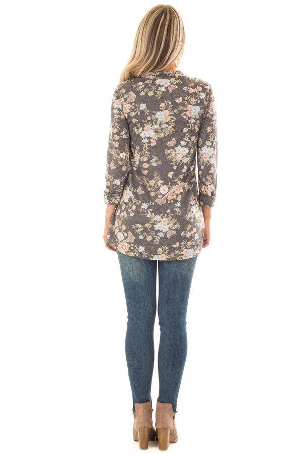 Charcoal Floral Top with 3/4 Sleeves back full body