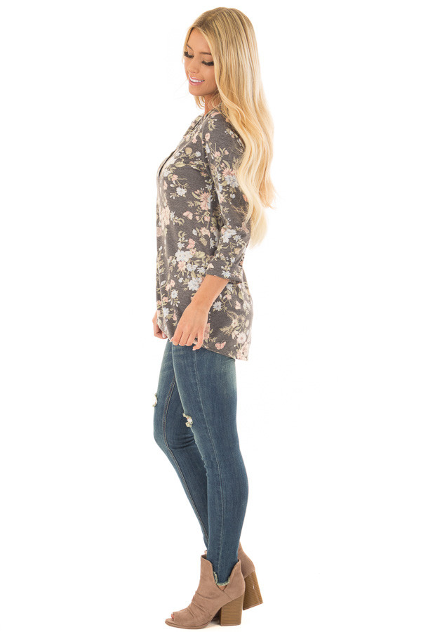 Charcoal Floral Top with 3/4 Sleeves side full body