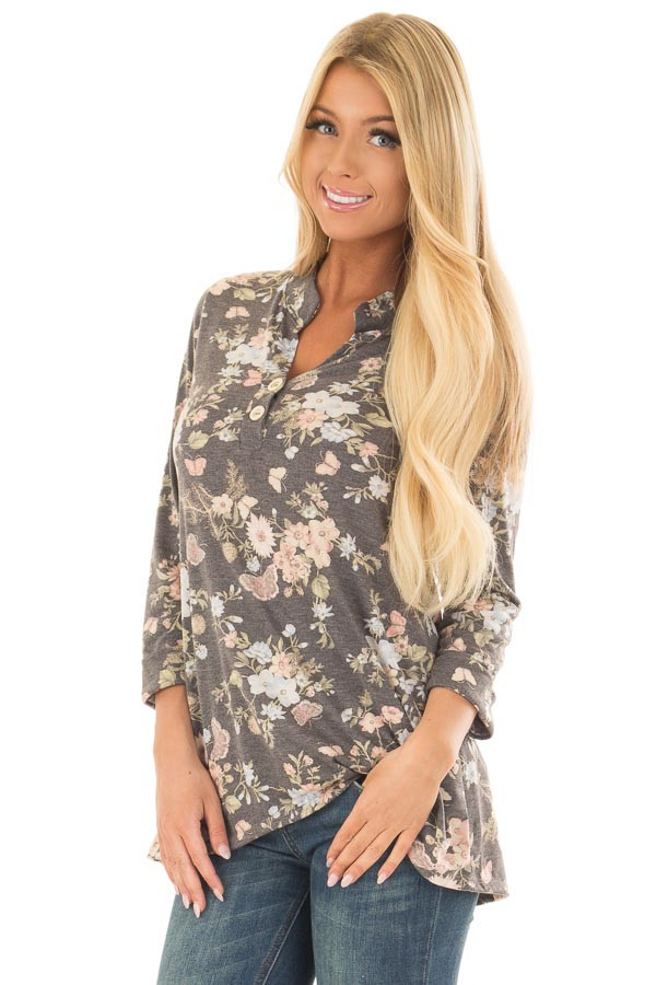 Charcoal Floral Top with 3/4 Sleeves front close up