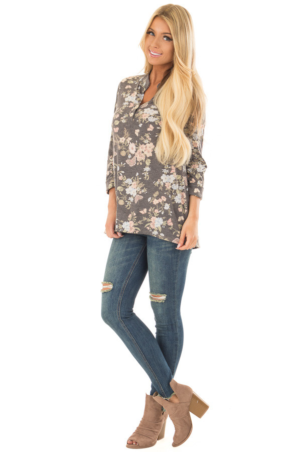 Charcoal Floral Top with 3/4 Sleeves front full body