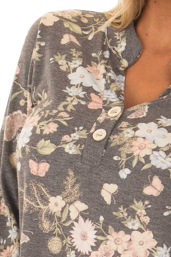 Charcoal Floral Top with 3/4 Sleeves detail