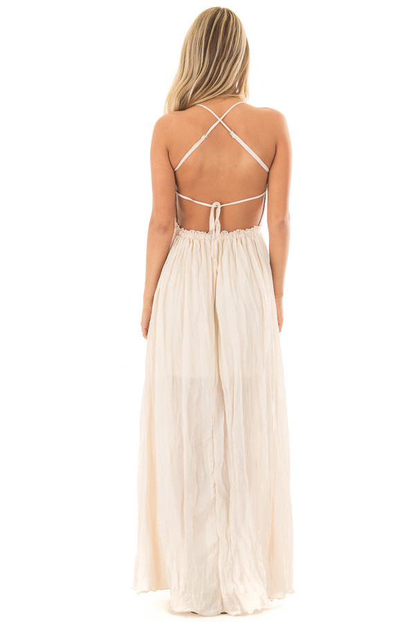 Cream Spaghetti Strap Maxi Dress with Lace Detail back full body