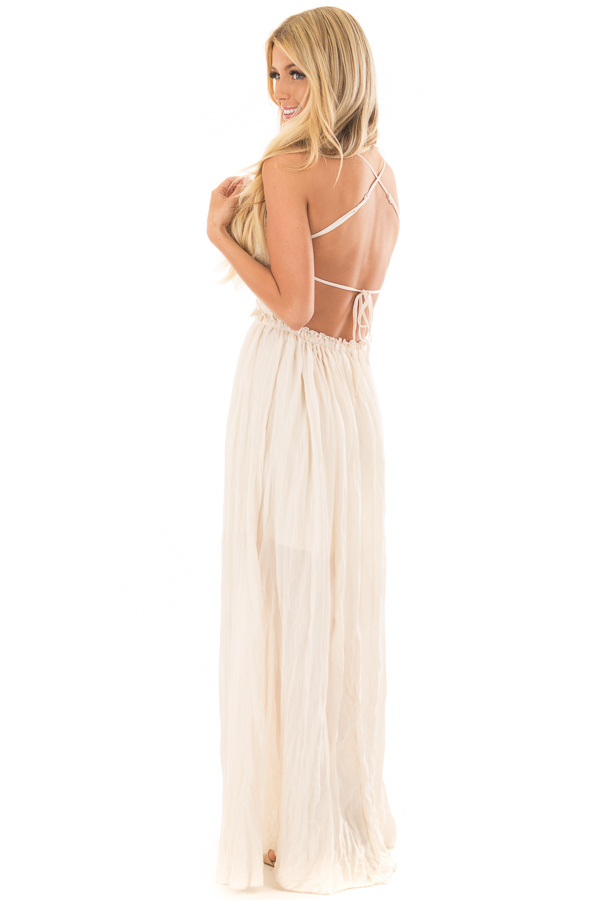 Cream Spaghetti Strap Maxi Dress with Lace Detail back side full body