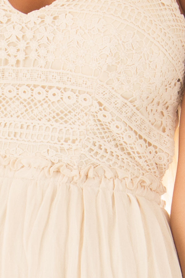 Cream Spaghetti Strap Maxi Dress with Lace Detail detail