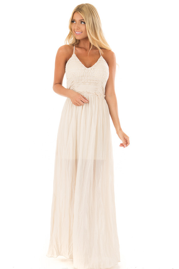 Cream Spaghetti Strap Maxi Dress with Lace Detail front full body