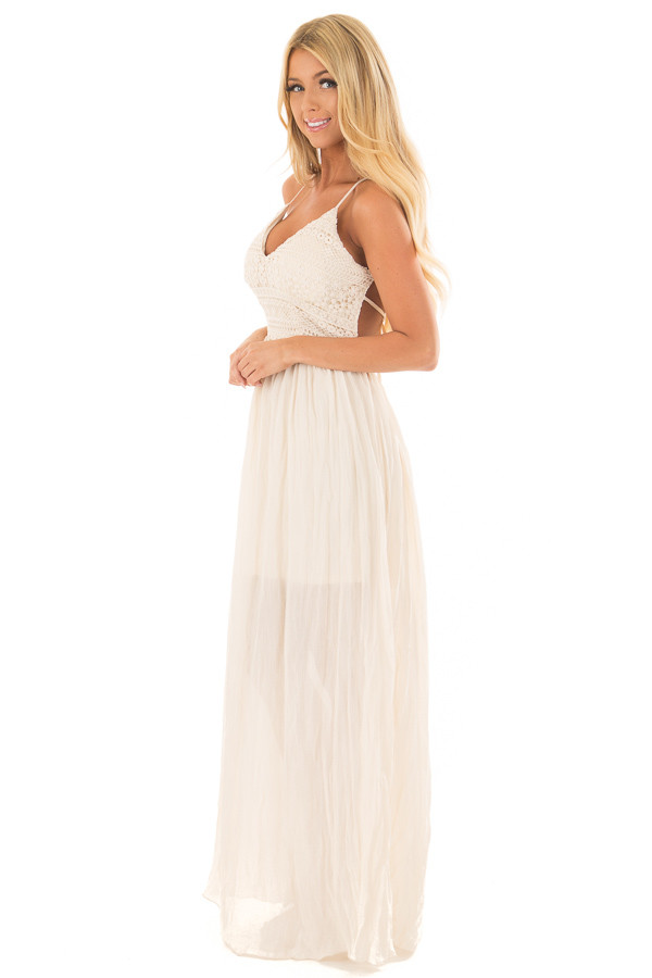 Cream Spaghetti Strap Maxi Dress with Lace Detail side full body