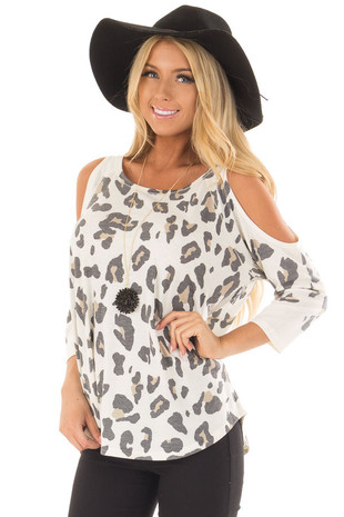 Ivory Leopard Print Cold Shoulder Top front close up