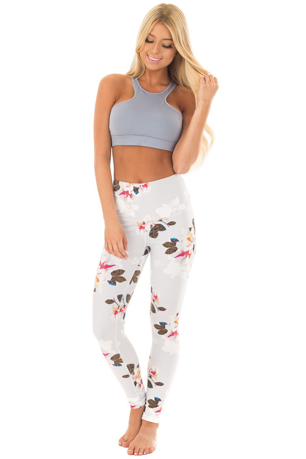 Dusty Blue Striped Floral Print Athletic Leggings front full body