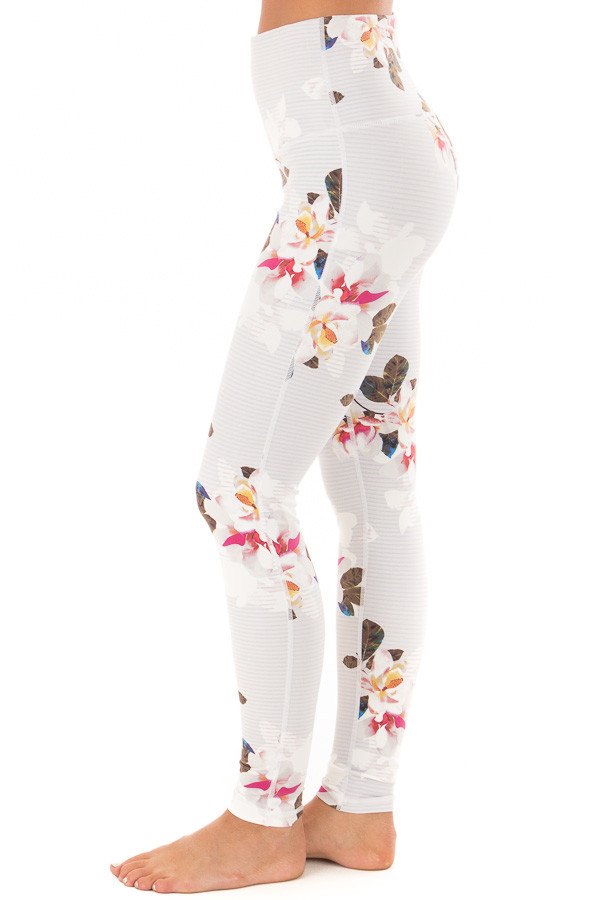 Dusty Blue Striped Floral Print Athletic Leggings side view
