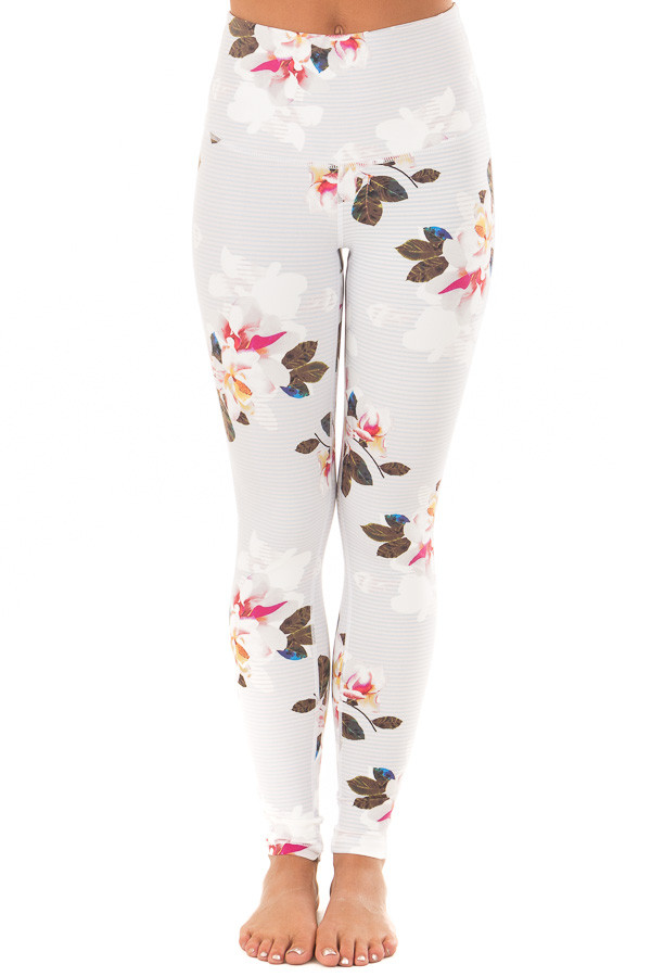 Dusty Blue Striped Floral Print Athletic Leggings front view