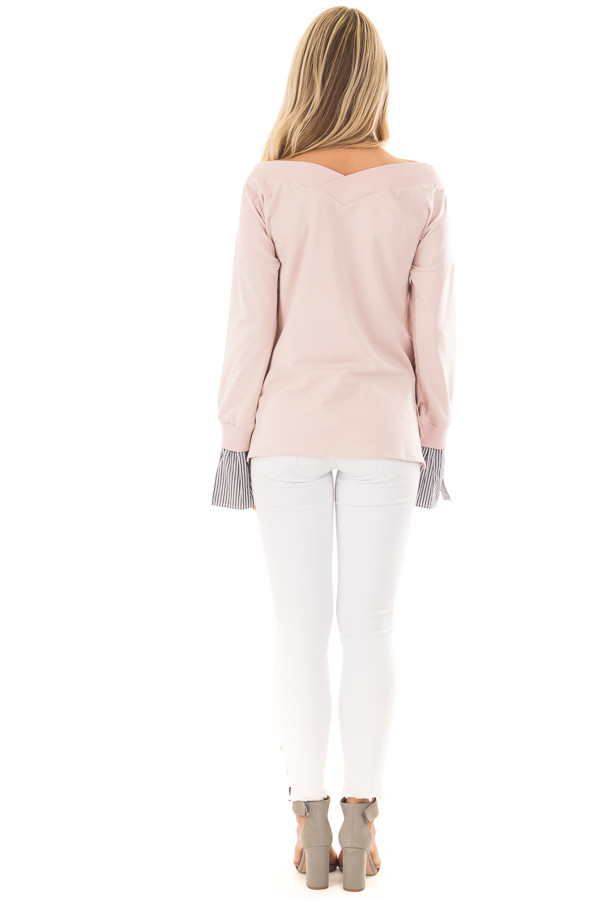 Blush V Neck Off the Shoulder Top with Striped Cuffs back full body