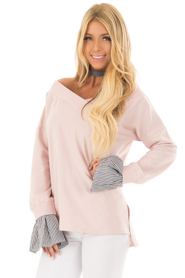 Blush V Neck Off the Shoulder Top with Striped Cuffs front close up