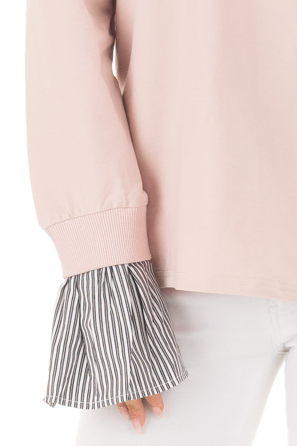 Blush V Neck Off the Shoulder Top with Striped Cuffs detail