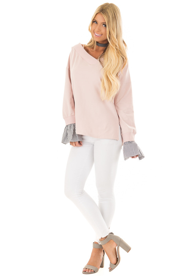 Blush V Neck Off the Shoulder Top with Striped Cuffs front full body
