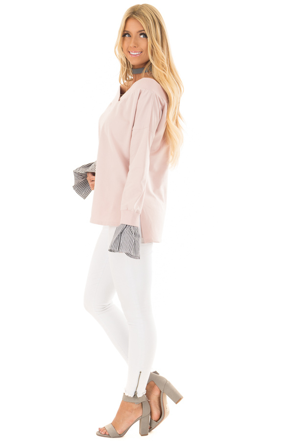 Blush V Neck Off the Shoulder Top with Striped Cuffs side full body