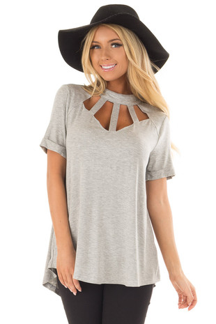 Heather Grey High Neck Top with Cage Neckline back close up