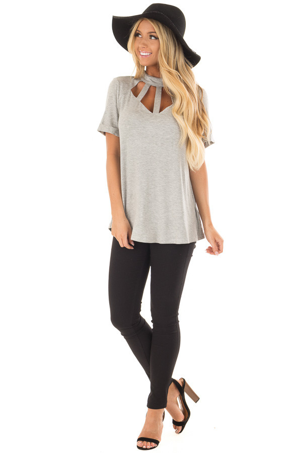 Heather Grey High Neck Top with Cage Neckline front full body