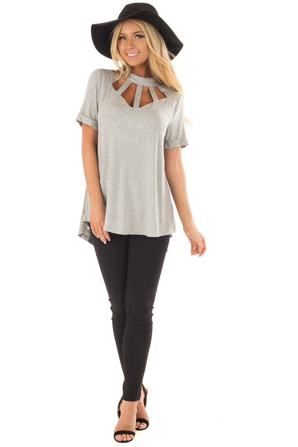Heather Grey High Neck Top with Cage Neckline back full body