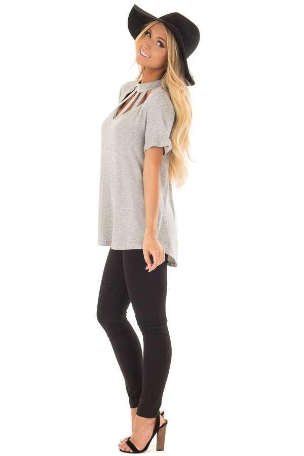 Heather Grey High Neck Top with Cage Neckline side full body