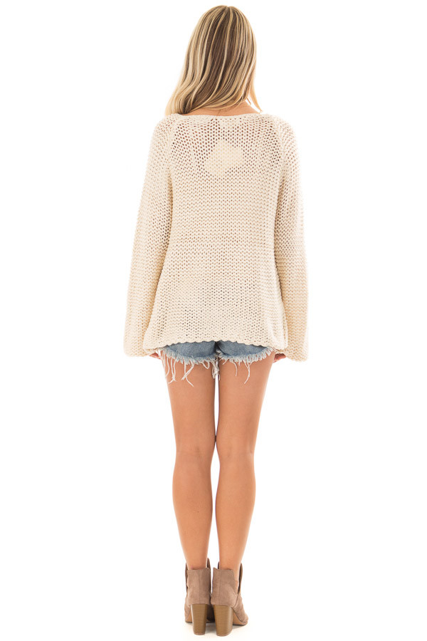 Cream Boat Neck Cable Knit Sweater back full body