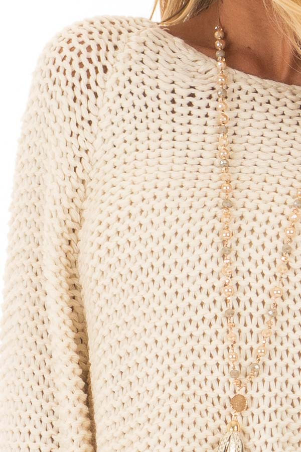 Cream Boat Neck Cable Knit Sweater detail