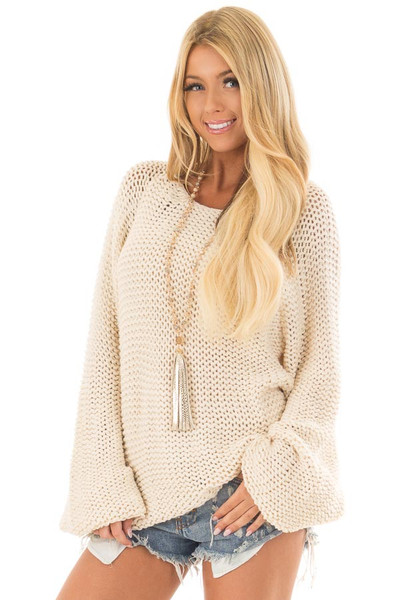 Cream Boat Neck Cable Knit Sweater front close up