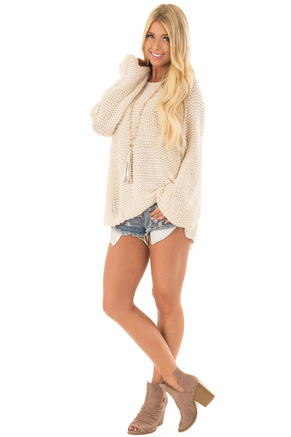 Cream Boat Neck Cable Knit Sweater Lime Lush Boutique