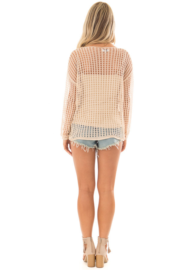 Beige Open Cable Knit Top with Long Sleeves back full body