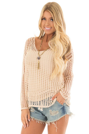 Beige Open Cable Knit Top with Long Sleeves front close up