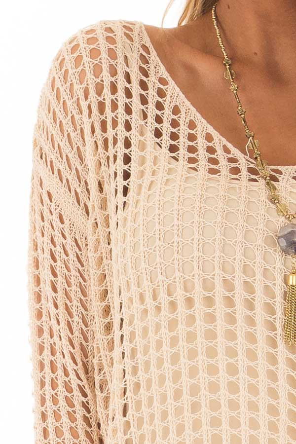 Beige Open Cable Knit Top with Long Sleeves detail