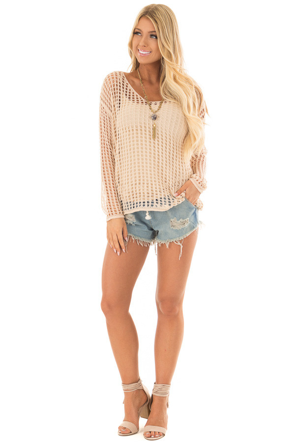 Beige Open Cable Knit Top with Long Sleeves front full body