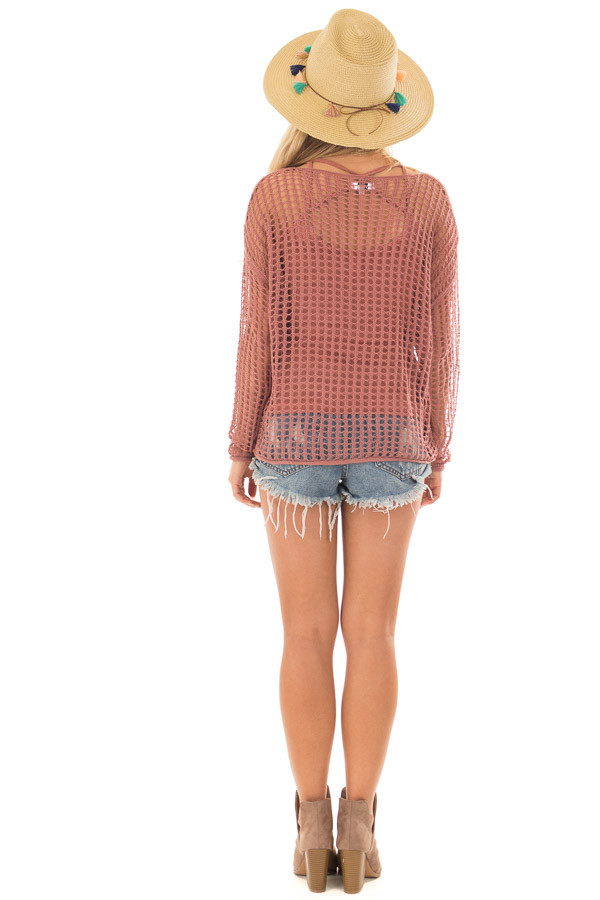 Cinnamon Open Cable Knit Top with Long Sleeves back full body
