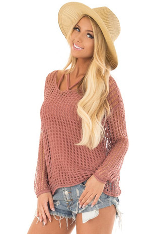Cinnamon Open Cable Knit Top with Long Sleeves front close up