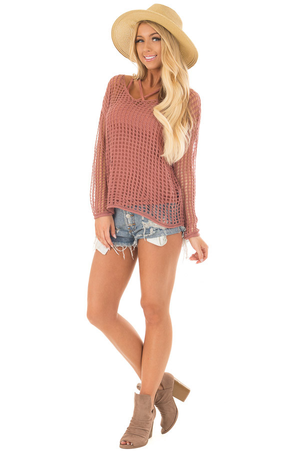 Cinnamon Open Cable Knit Top with Long Sleeves front full body