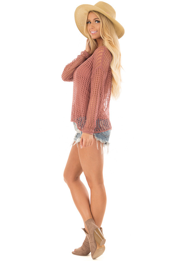 Cinnamon Open Cable Knit Top with Long Sleeves side full body