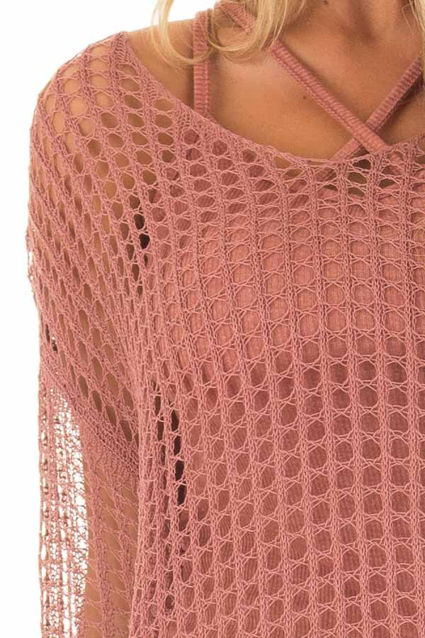 Cinnamon Open Cable Knit Top with Long Sleeves detail