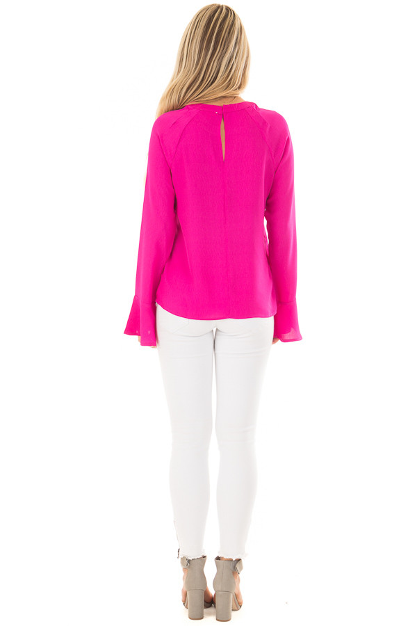 Magenta Long Sleeve Top with V Cut Out back full body