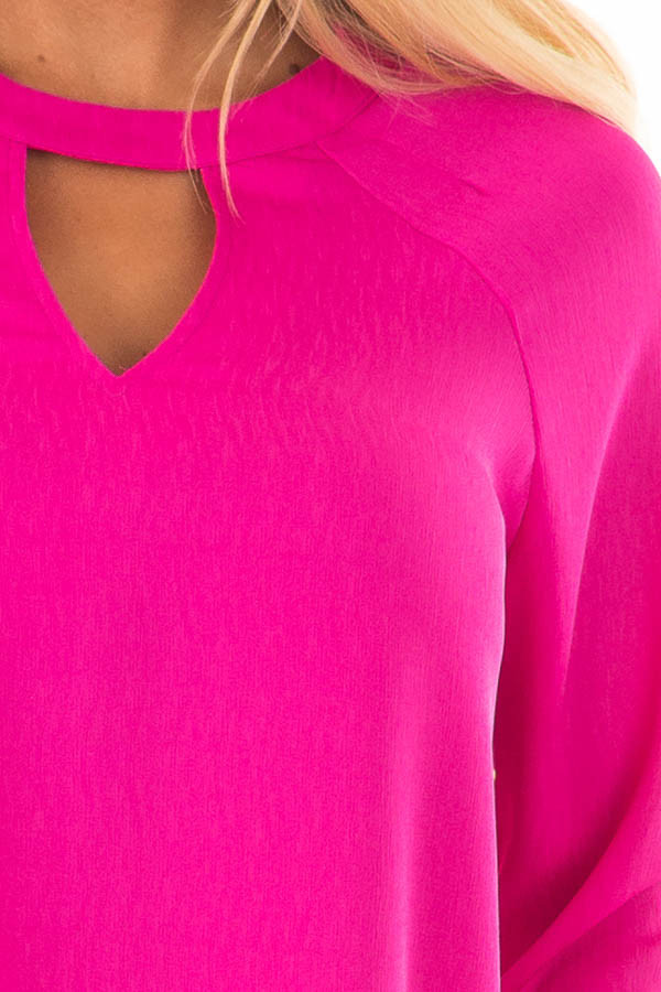 Magenta Long Sleeve Top with V Cut Out detail