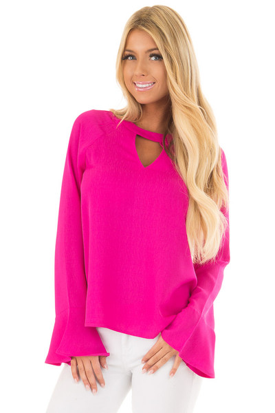 Magenta Long Sleeve Top with V Cut Out front close up