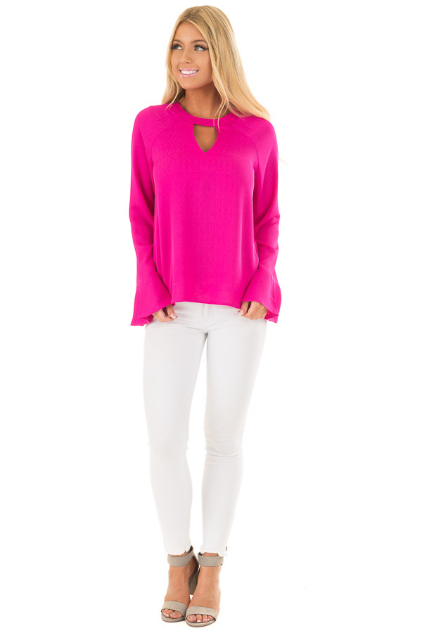 Magenta Long Sleeve Top with V Cut Out front full body